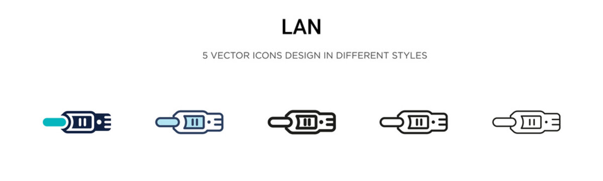 Lan icon in filled, thin line, outline and stroke style. Vector illustration of two colored and black lan vector icons designs can be used for mobile, ui, web