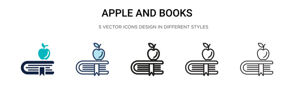 Apple and books icon in filled, thin line, outline and stroke style. Vector illustration of two colored and black apple and books vector icons designs can be used for mobile, ui, web