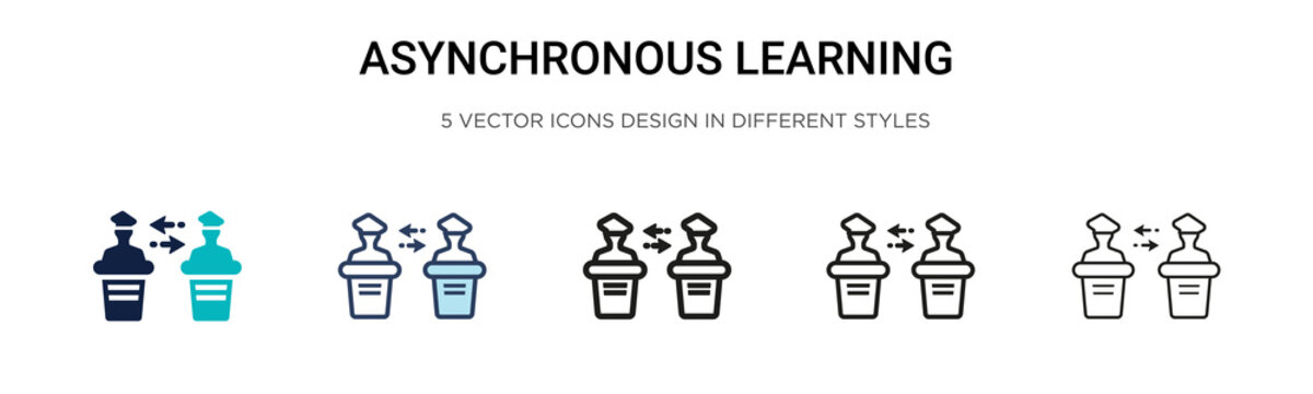 Asynchronous learning icon in filled, thin line, outline and stroke style. Vector illustration of two colored and black asynchronous learning vector icons designs can be used for mobile, ui, web