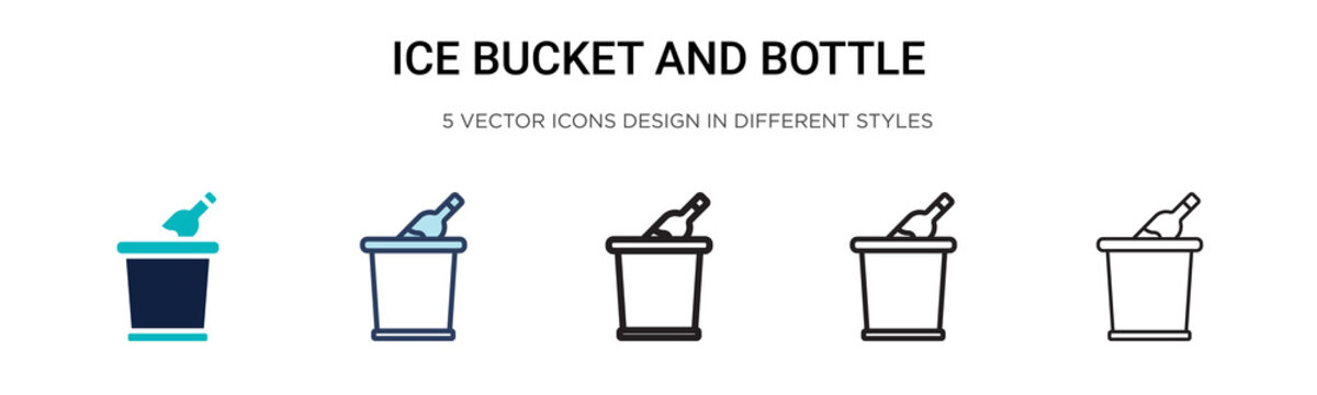 Ice bucket and bottle icon in filled, thin line, outline and stroke style. Vector illustration of two colored and black ice bucket and bottle vector icons designs can be used for mobile, ui, web