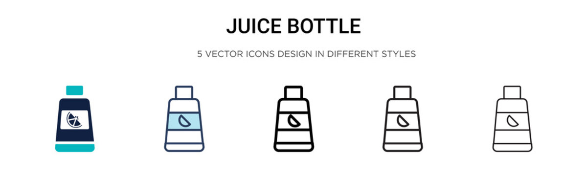 Juice bottle icon in filled, thin line, outline and stroke style. Vector illustration of two colored and black juice bottle vector icons designs can be used for mobile, ui, web
