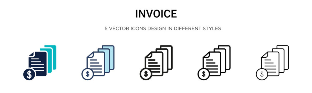 Invoice icon in filled, thin line, outline and stroke style. Vector illustration of two colored and black invoice vector icons designs can be used for mobile, ui, web