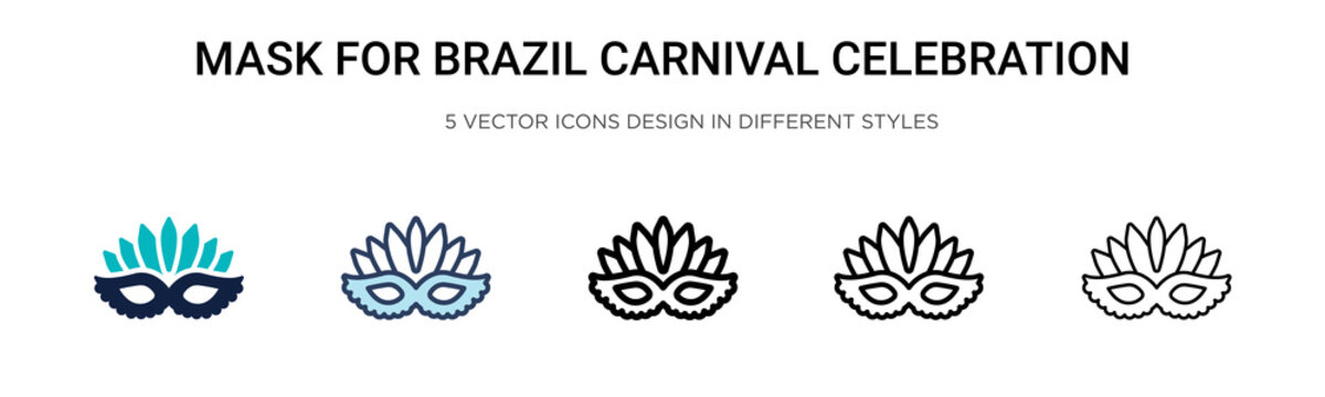 Mask for brazil carnival celebration icon in filled, thin line, outline and stroke style. Vector illustration of two colored and black mask for brazil carnival celebration vector icons designs can be