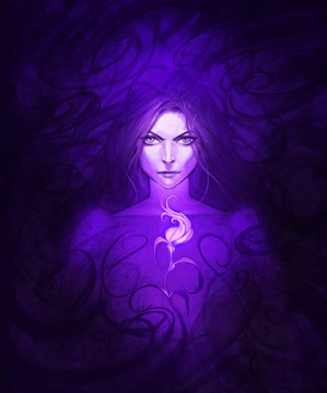Original hand drawn fantasy portrait of a mysterious beautiful woman with long dark hair holding glowing magic flower