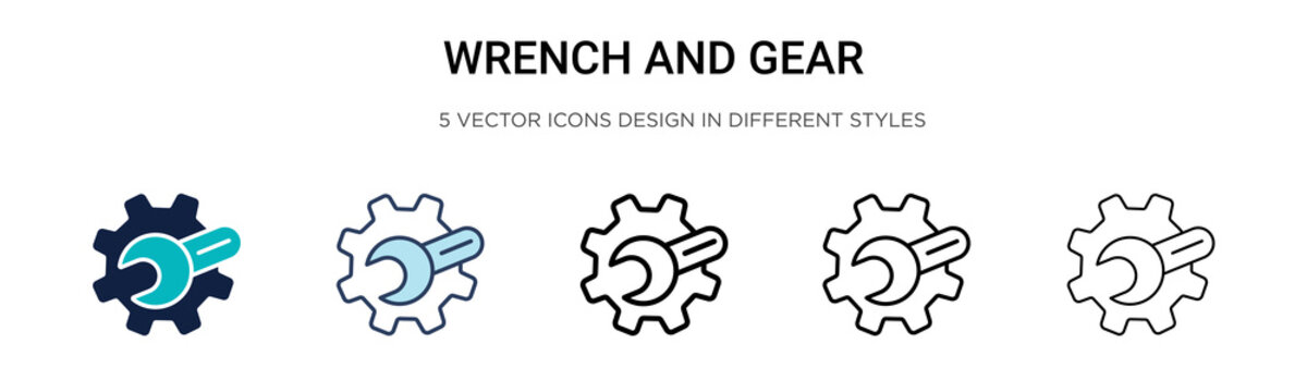 Wrench and gear icon in filled, thin line, outline and stroke style. Vector illustration of two colored and black wrench and gear vector icons designs can be used for mobile, ui, web