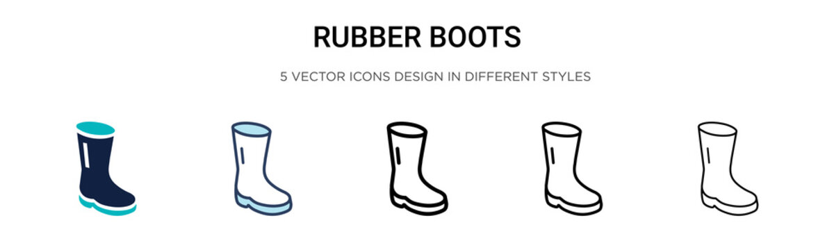 Rubber boots icon in filled, thin line, outline and stroke style. Vector illustration of two colored and black rubber boots vector icons designs can be used for mobile, ui, web