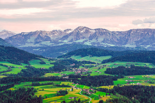 The picture shows the Sulzberg (Voralberg/ Austria) on the German-Austrian border in the evening.