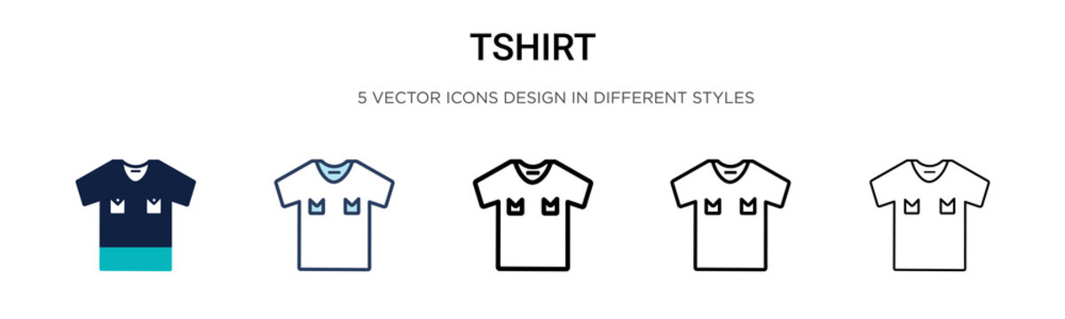 Tshirt icon in filled, thin line, outline and stroke style. Vector illustration of two colored and black tshirt vector icons designs can be used for mobile, ui, web
