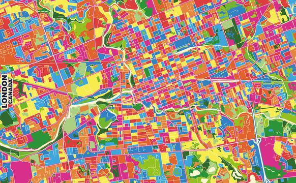 London, Ontario, Canada, colorful vector map
