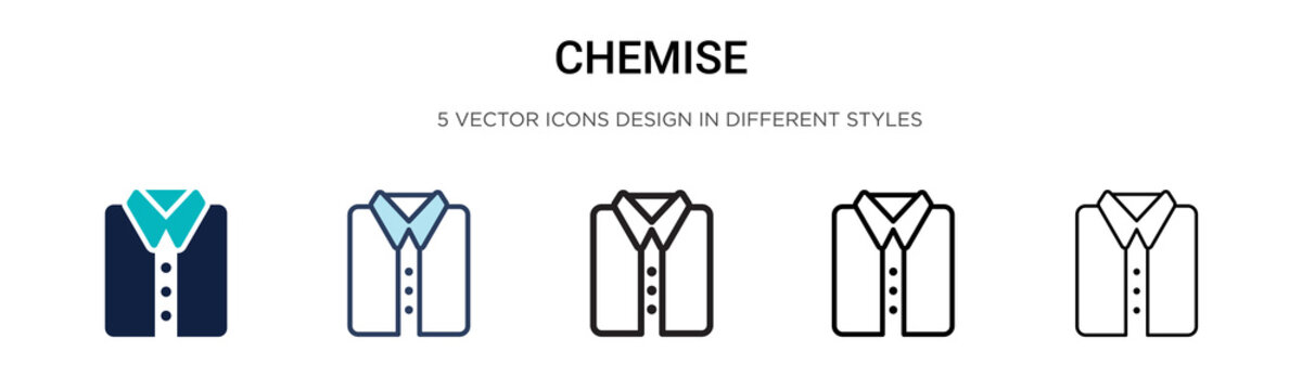 Chemise icon in filled, thin line, outline and stroke style. Vector illustration of two colored and black chemise vector icons designs can be used for mobile, ui, web