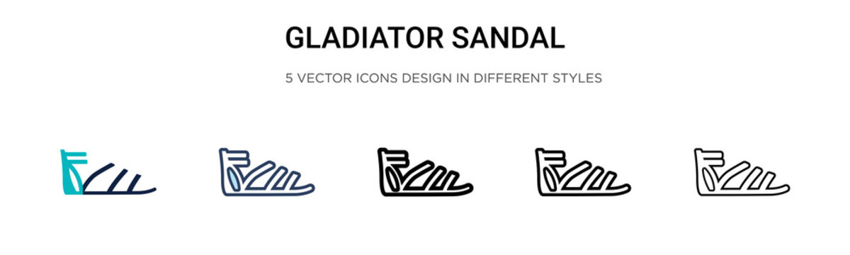 Gladiator sandal icon in filled, thin line, outline and stroke style. Vector illustration of two colored and black gladiator sandal vector icons designs can be used for mobile, ui, web