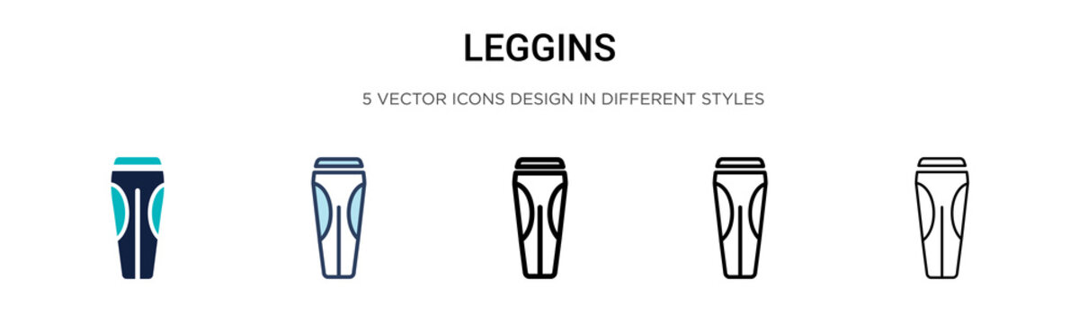Leggins icon in filled, thin line, outline and stroke style. Vector illustration of two colored and black leggins vector icons designs can be used for mobile, ui, web