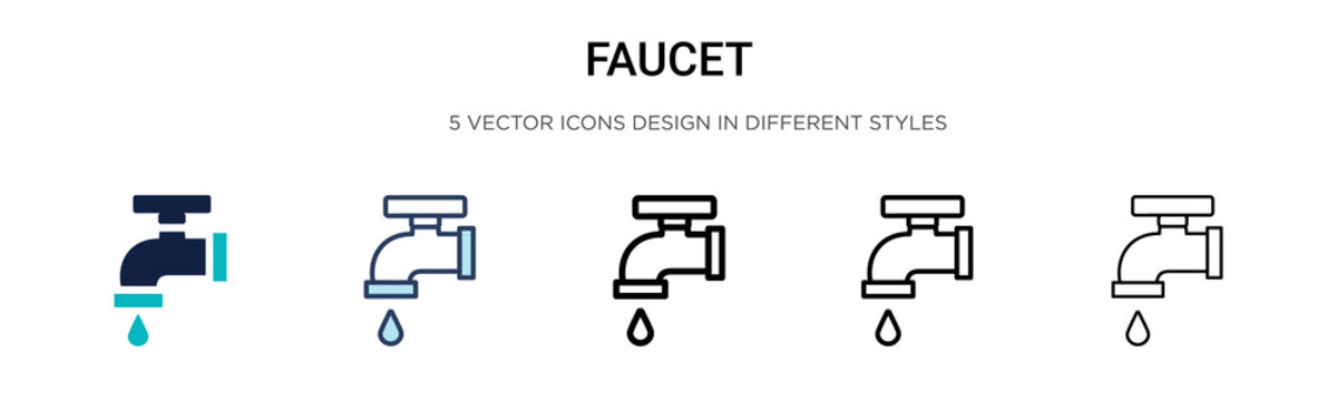 Faucet icon in filled, thin line, outline and stroke style. Vector illustration of two colored and black faucet vector icons designs can be used for mobile, ui, web