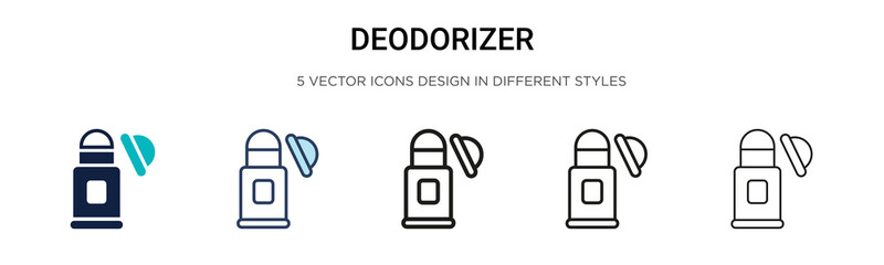 Deodorizer icon in filled, thin line, outline and stroke style. Vector illustration of two colored and black deodorizer vector icons designs can be used for mobile, ui, web Wall mural