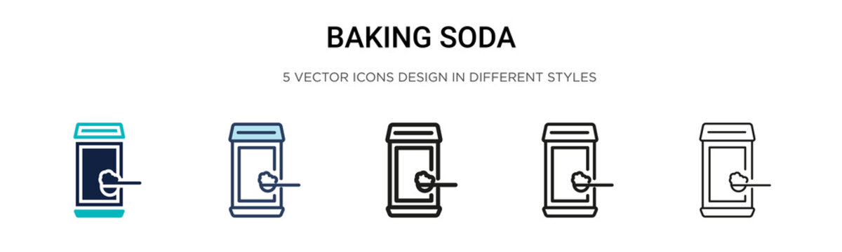 Baking soda icon in filled, thin line, outline and stroke style. Vector illustration of two colored and black baking soda vector icons designs can be used for mobile, ui, web