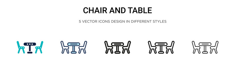 Chair and table icon in filled, thin line, outline and stroke style. Vector illustration of two colored and black chair and table vector icons designs can be used for mobile, ui, web