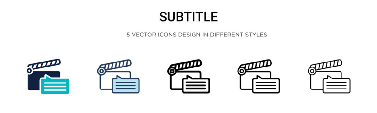 Subtitle icon in filled, thin line, outline and stroke style. Vector illustration of two colored and black subtitle vector icons designs can be used for mobile, ui, web