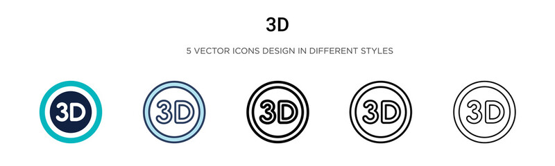 3d sign icon in filled, thin line, outline and stroke style. Vector illustration of two colored and black 3d sign vector icons designs can be used for mobile, ui, web Fotobehang
