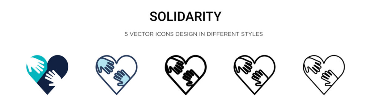 Solidarity icon in filled, thin line, outline and stroke style. Vector illustration of two colored and black solidarity vector icons designs can be used for mobile, ui, web