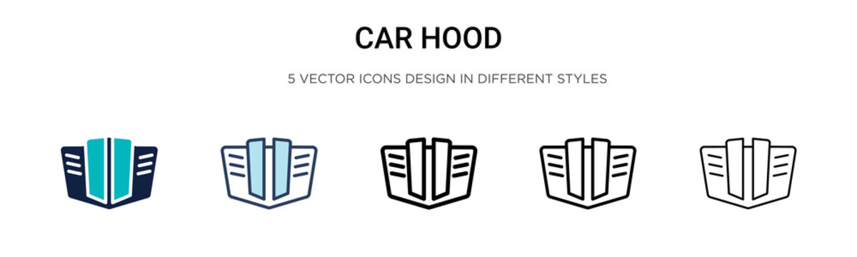 Car hood icon in filled, thin line, outline and stroke style. Vector illustration of two colored and black car hood vector icons designs can be used for mobile, ui, web