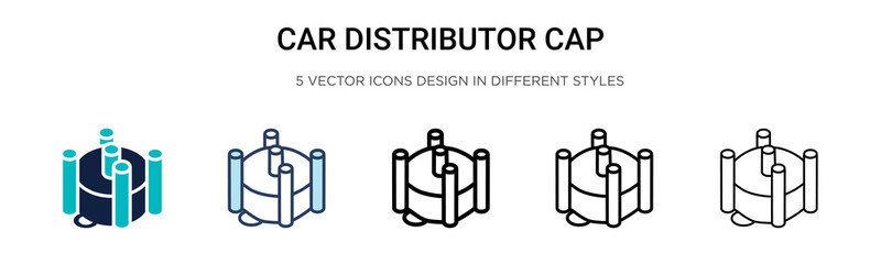 Car distributor cap icon in filled, thin line, outline and stroke style. Vector illustration of two colored and black car distributor cap vector icons designs can be used for mobile, ui, web Wall mural