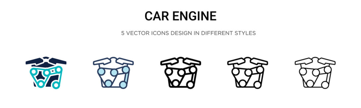 Car engine icon in filled, thin line, outline and stroke style. Vector illustration of two colored and black car engine vector icons designs can be used for mobile, ui, web
