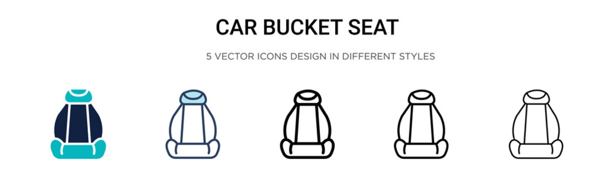 Car bucket seat icon in filled, thin line, outline and stroke style. Vector illustration of two colored and black car bucket seat vector icons designs can be used for mobile, ui, web