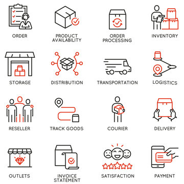 Vector Set of Linear Icons Related to Tracking Order, Shipping and Experess Delivery Process. Mono line pictograms and infographics design elements