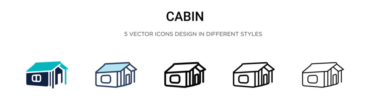 Cabin icon in filled, thin line, outline and stroke style. Vector illustration of two colored and black cabin vector icons designs can be used for mobile, ui, web
