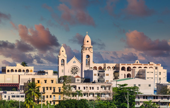 White church in San Juan, Puerto Rico in late afternoon light