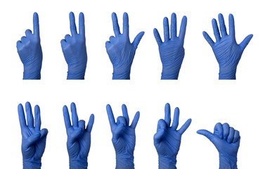 Hand in surgical glove counting one to ten in American Sign Language isolated on white background;