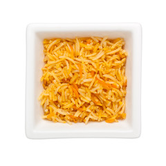 Biryani in a square bowl isolated on white background;