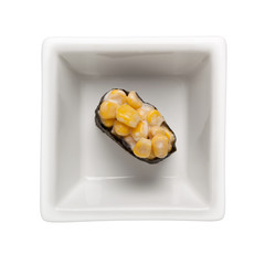 Sushi - Corn mayo gunkan in a square bowl isolated on white background;