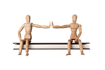 Two mannequins with outstretched arms demonstrating social distancing isolated on white background; ;