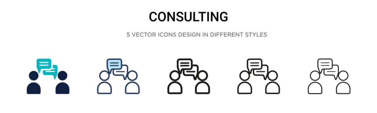 Consulting icon in filled, thin line, outline and stroke style. Vector illustration of two colored and black consulting vector icons designs can be used for mobile, ui, web