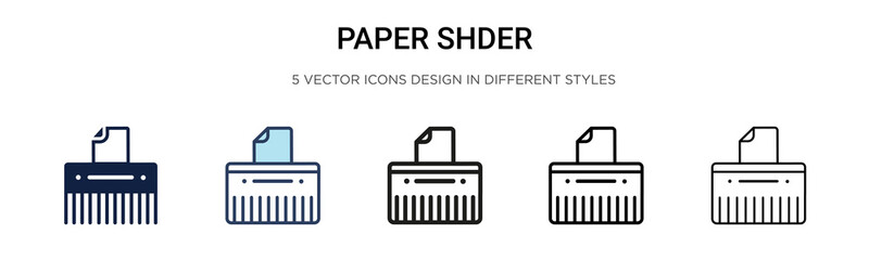 Paper shredder icon in filled, thin line, outline and stroke style. Vector illustration of two colored and black paper shredder vector icons designs can be used for mobile, ui, web