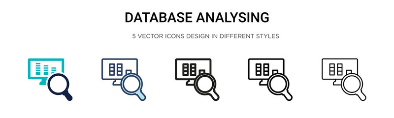Database analysing icon in filled, thin line, outline and stroke style. Vector illustration of two colored and black database analysing vector icons designs can be used for mobile, ui, web Wall mural
