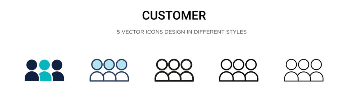 Customer icon in filled, thin line, outline and stroke style. Vector illustration of two colored and black customer vector icons designs can be used for mobile, ui, web