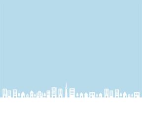 Fototapeten Licht blau 街並みの背景イラスト/町/シンプル