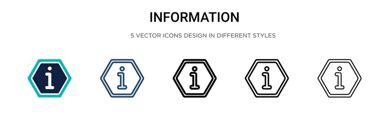 Information icon icon in filled, thin line, outline and stroke style. Vector illustration of two colored and black information icon vector icons designs can be used for mobile, ui, web Wall mural