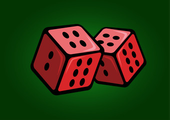 Red casino cubes with green background