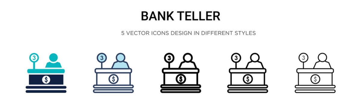 Bank teller icon in filled, thin line, outline and stroke style. Vector illustration of two colored and black bank teller vector icons designs can be used for mobile, ui, web