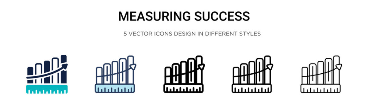 Measuring success icon in filled, thin line, outline and stroke style. Vector illustration of two colored and black measuring success vector icons designs can be used for mobile, ui, web