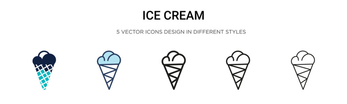Ice cream icon in filled, thin line, outline and stroke style. Vector illustration of two colored and black ice cream vector icons designs can be used for mobile, ui, web