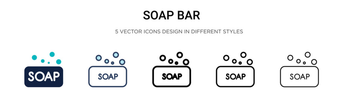 Soap bar icon in filled, thin line, outline and stroke style. Vector illustration of two colored and black soap bar vector icons designs can be used for mobile, ui, web