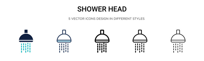Shower head icon in filled, thin line, outline and stroke style. Vector illustration of two colored and black shower head vector icons designs can be used for mobile, ui, web