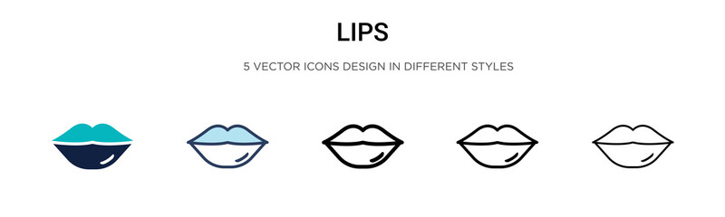 Lips icon in filled, thin line, outline and stroke style. Vector illustration of two colored and black lips vector icons designs can be used for mobile, ui, web