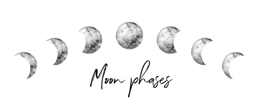 Watercolor moon phases. Hand painted watercolor beautiful illustration.