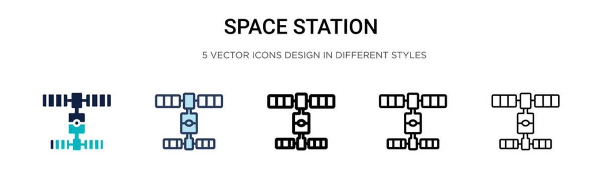Space station icon in filled, thin line, outline and stroke style. Vector illustration of two colored and black space station vector icons designs can be used for mobile, ui, web