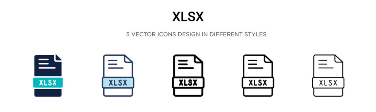 Xlsx icon in filled, thin line, outline and stroke style. Vector illustration of two colored and black xlsx vector icons designs can be used for mobile, ui, web
